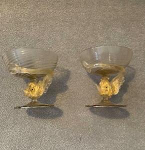 Salviati Murano Gold Fleck Sherberts with Dolphin Stems