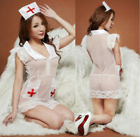 Sexy Adult Women Nurse Fancy Dress Costume Cosplay Halloween Outfit Lingerie  MN