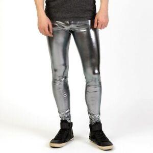 Men Shiny Lycra Leggings Metallic Spandex Full Length Man Meggings