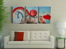 Horse Set of 3 Canvas Wall Art, Horse Canvas Art Deco Painting, Picture Poster
