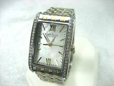 BULOVA CARAVELLE NEW YORK 45L138 LADIES WATCH S/S & G/P CRYSTAL BEZEL PEARL DIAL