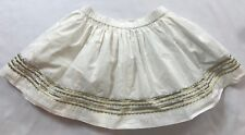 EUC Crewcuts (J Crew) Size 3 Years White Gold Embroidery Cotton Lined Skirt