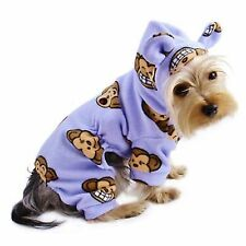 Adorable Silly Monkey Fleece Dog Pajamas   Bodysuit With Hood Lavender Small ff8753ebf