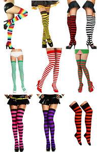Striped Stripey Over The Knee Socks Long Neon Fancy Dress Red Green Black White