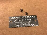 Marantz 2500 (e) REAR ID BADGE LOGO w/ screws - Vintage Monster Receiver part