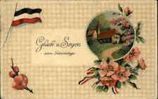 Gruss GEBURTSTAG Prägekarte 1918 Glück & Segen Patriotik Fahne Haus Landschaft