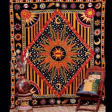 Celestial Burning Sun Tapestry Throw Sun Moon Stars Wall Hanging Hippy Bedspread