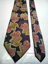 Cellini Men's Silk Tie in a Copper Autumnal Abstract Pattern