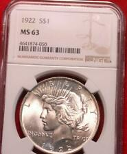 1922 Philadelphia Mint Silver Peace Dollar NGC Graded MS 63