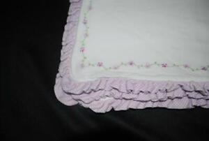 Carters Purple White Baby Blanket Bunches of Love Checked Ruffled Edge