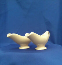 1953 Walker China Toltec Vitrified Pink Restaurant ware gravy boats. Set of two.