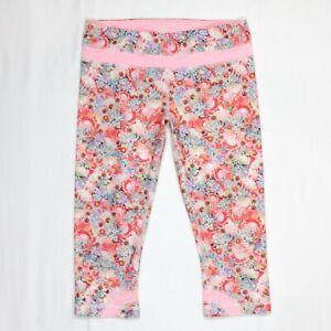 """Lululemon Pink Floral Run Inspire Crop II Leggings 18"""" Inseam Sz 8"""