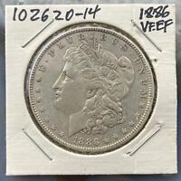 1886 Morgan Silver Dollar $1 90% US Collectible Coin VF-EF #102620-14