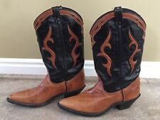 WOMEN'S DINGO LEATHER INLAY WESTERN COWBOY BOOTS MADE IN  USA