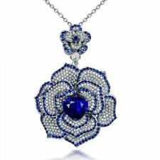 5Ct Heart Cut Sapphire Syn Diamond Art Deco Floral Pendant White Gold Fns Silver