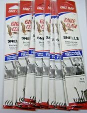 72 Original Snelled Eagle Claw 139's Bait Holder BaitHolder Fishing Hooks Size 1