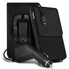Carbon Fibre Belt Pouch Holster Case & Car Charger For Asus Zenfone 5