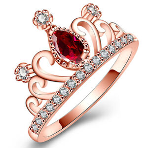 Red Tear Drop Aaa Cz Crown Rings Pave Setting Girls Jewelry Wedding Engagement