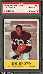 1964 Philadelphia Football #30 Jim Jimmy Brown Cleveland Browns HOF PSA 8