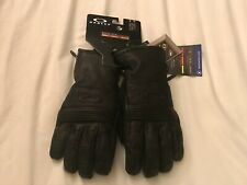 OAKLEY SILVERED GORE-TEX GLOVE BLACK LEATHER M SNOW SNOWBOARDING SKI BLACKOUT