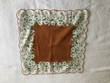 Vintage Handkerchief Daisies / Thick Border Flower Design / Cotton / Mid-Century