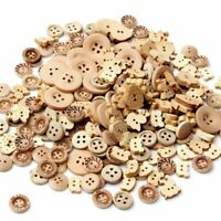 100pcs/lot 2 Holes Wood Buttons 4 Holes Scrapbooking Sewing Wooden DIY Craft