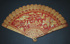 RARE ANTIQUE CHINESE GOLD PAINTED RED LACQUER FIGURAL SCENE BRISE FAN