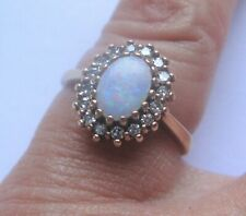 A Pretty Opal & Diamond Ring in 9ct Yellow Gold
