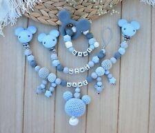 Set Baby Schnullerkette Namen Mickey Mouse Maus Kinderwagenkette Silikon blau