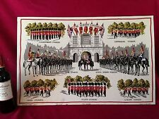 Large vintage hanpainted Lamont printed hunting wall décor Queens Guards London