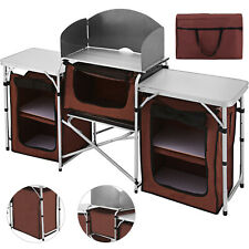 Camping Kitchen Table Picnic Cabinet Tables Portable Fold Cooking Storage Rack