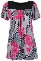 Ladies Plus Size Short Sleeve Gathered Tunic Long Floral Print Smock Top