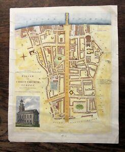 1821 Wilkinson Christ Church Blackfriars London Antique Map Southwark Waterloo
