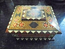 Vintage Inlaid Mosaic Marquetry Wooden Box Nice Clean With Key