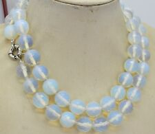 Natural 8mm White Moonstone Faceted RoundGemstone Beads Necklace 36inch