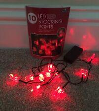 PERFECT CONDITION! Red Christmas Tree Fairy Lights, Santas Stockings! 1m