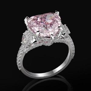 Pink Heart Shape 5.78Ct Diamond Engagement Wedding Ring in 14k White Gold Finish