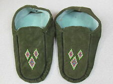 NATIVE AMERICAN  BEADED MOCCASINS, 10 INCHES,GREEN DYED,VIOLET,GREEN NICE DESIGN