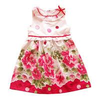 Filles Rose Coton Robe Été Floral 18 24 Mois 3 4 5 6 Ans