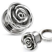 316L Surgical Steel Rose Flower Screw-Fit Ear Plug Flesh Tunnel Plugs 8mm - 18mm
