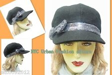 D&Y Trendy Black Cadet Cabbie Cap w.Gray Silver Sequin Bow Casual Chic Wool Hat