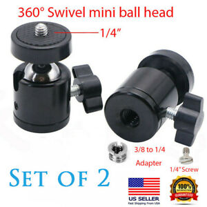 "2PCs 1/4"" Screw Tripod Mini Ball Head Adapter Camera Cradle Aluminum REIZ USA"