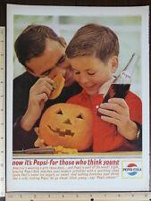 Rare Original VTG Car Pepsi Cola Halloween Pumpkin Color Advertising Art Print