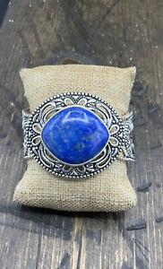 Barse Denizen Cuff Bracelet- Denim Lapis- Silver Overlay-New With Tags
