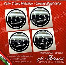 4 Adesivi Resinati Sticker 3D BRABUS Smart 50 mm Nero e Cromo Argento GEL cerchi