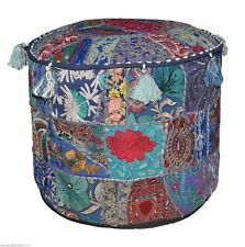 Indian Ethnic Cotton Floor Ottoman Pouffe Vintage Embroidered Patchwork Pouffe