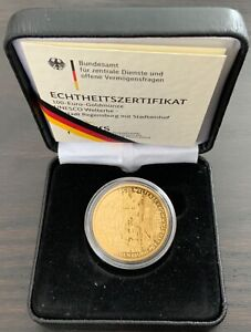 Gold 100 Euro Goldmünze 2016 Regensburg 4.10.2016  4.Oktober Zertifikat 1/2 oz