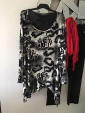 CORDELIA ST Black White Cream Grey Long Sleeves Stretch Tunic top Blouse 14
