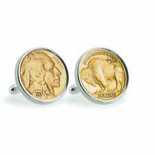 NEW Gold-Layered Buffalo Nickel Sterling Silver Coin Cuff Links 12790