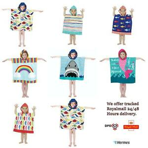 Boys Girls Kids Hooded Towel Children Bathrobe Poncho Beach Bath Swimming